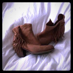 Sam Edelman fringe leather booties